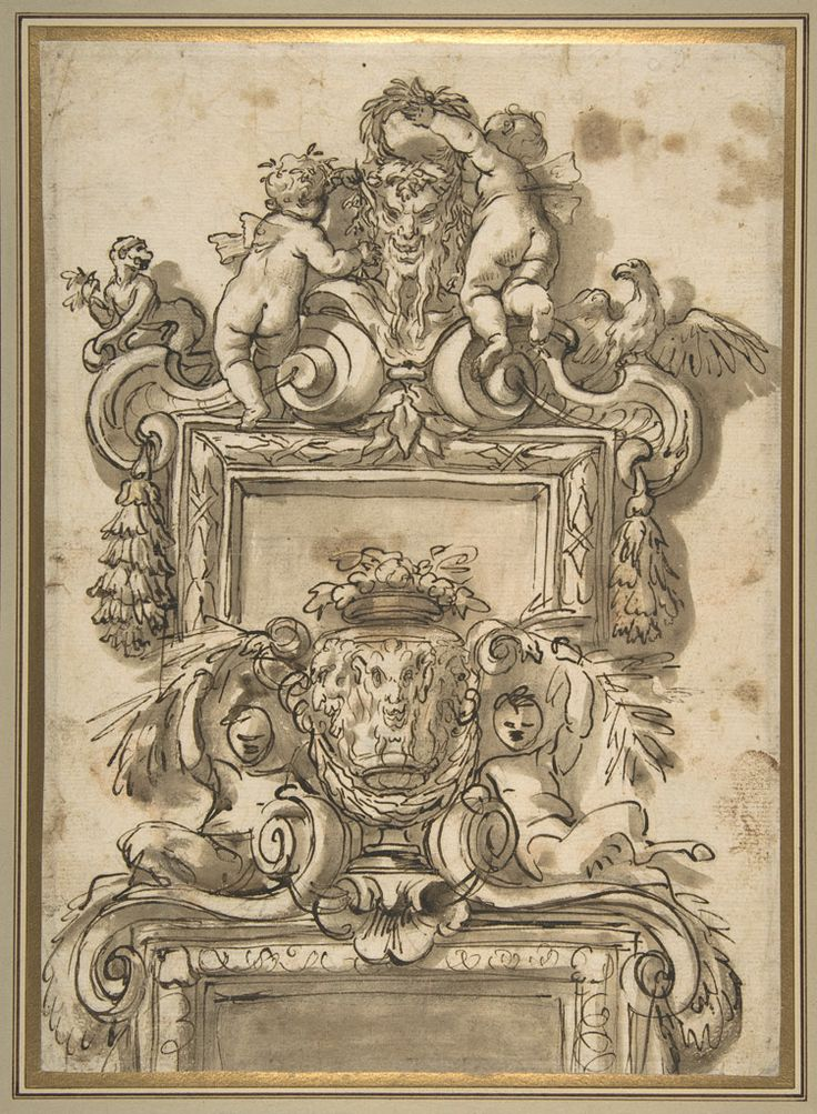 Gregorio de' Ferrari (Italian) - Design for an Overdoor Decoration (recto), 1647-26, Pen and brown ink, brush and brown wash, over traces of black chalk, The Metropolitan Museum of Art