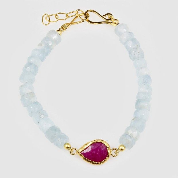 Aquamarine Bracelet with Ruby/ Pink Moonstone sterling silver plated in 24k gold.