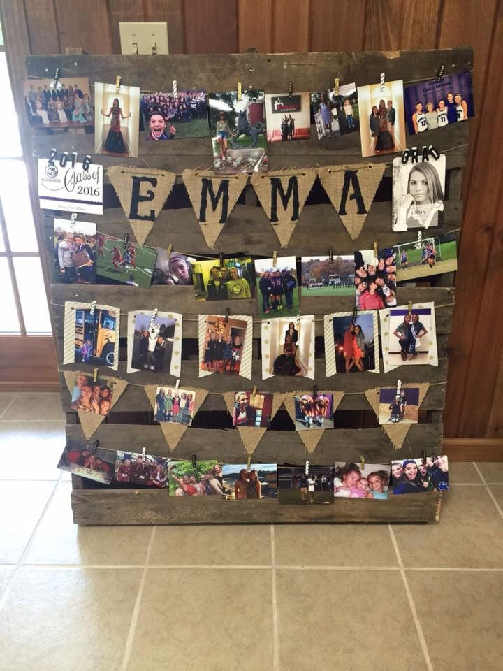 High school graduation photo display with rustic pallet, twine and burlap
