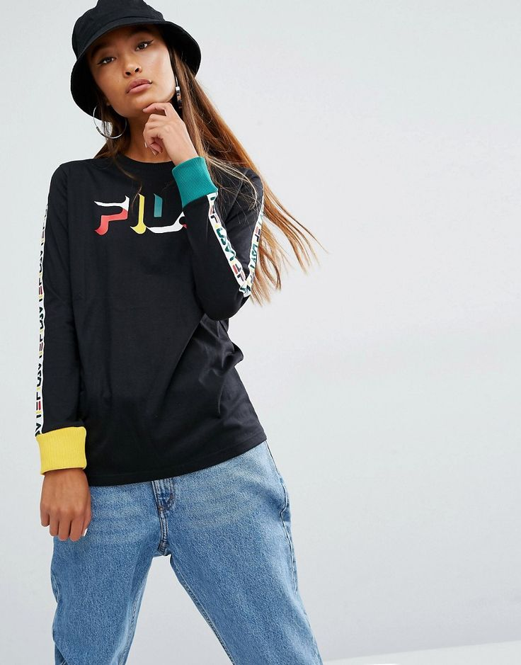 Image 1 of Fila Oversized Long Sleeve T-Shirt With Logo Tape Sleeves And…