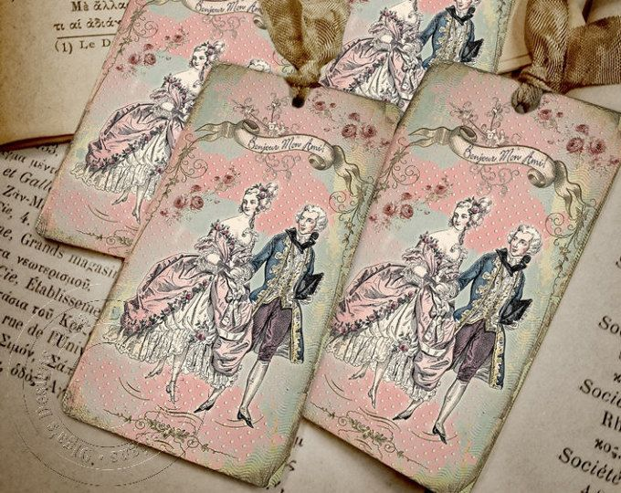 Marie Antoinette Gift Tags - French style - Bonjour Mon Ami - Shabby chic tags - 4 pcs in pack - Eco-friendly paper