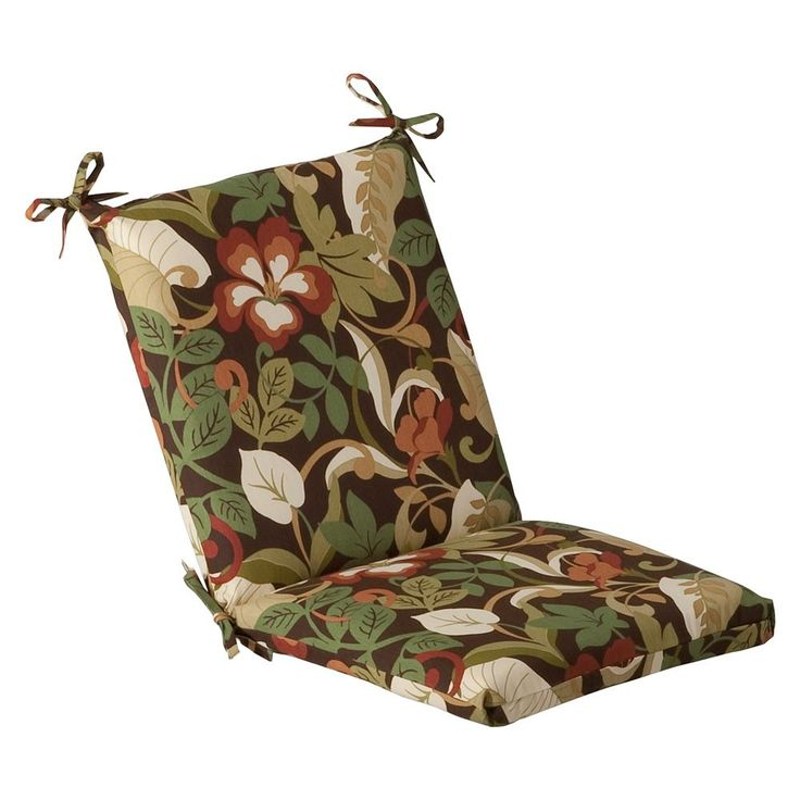 Instantly update the look of your outside sitting area with this brown and green tropical outdoor chair cushion. Featuring a 100 percent polyester construction and a quality fiber fill, it promises co