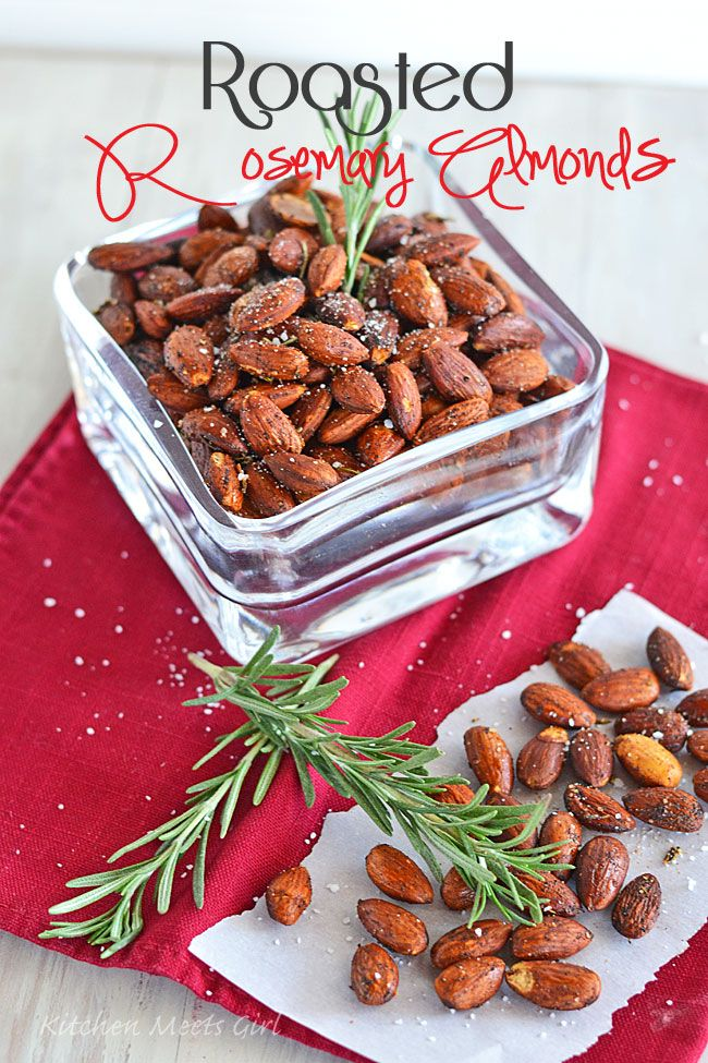 Roasted Rosemary Almonds •1 tablespoon finely chopped fresh rosemary   •1 tablespoon extra-virgin olive oil   •1 teaspoon chile powder   •3/4 teaspoon kosher salt   •Dash of cayenne pepper   • 2 cups whole almonds     1.Preheat oven to 325°.   2.Combine all ingredients in a medium bowl and toss to coat. Arrange nuts in a single layer on a baking sheet lined with foil. Bake for 20 minutes or until lightly toasted. Cool to room temperature.