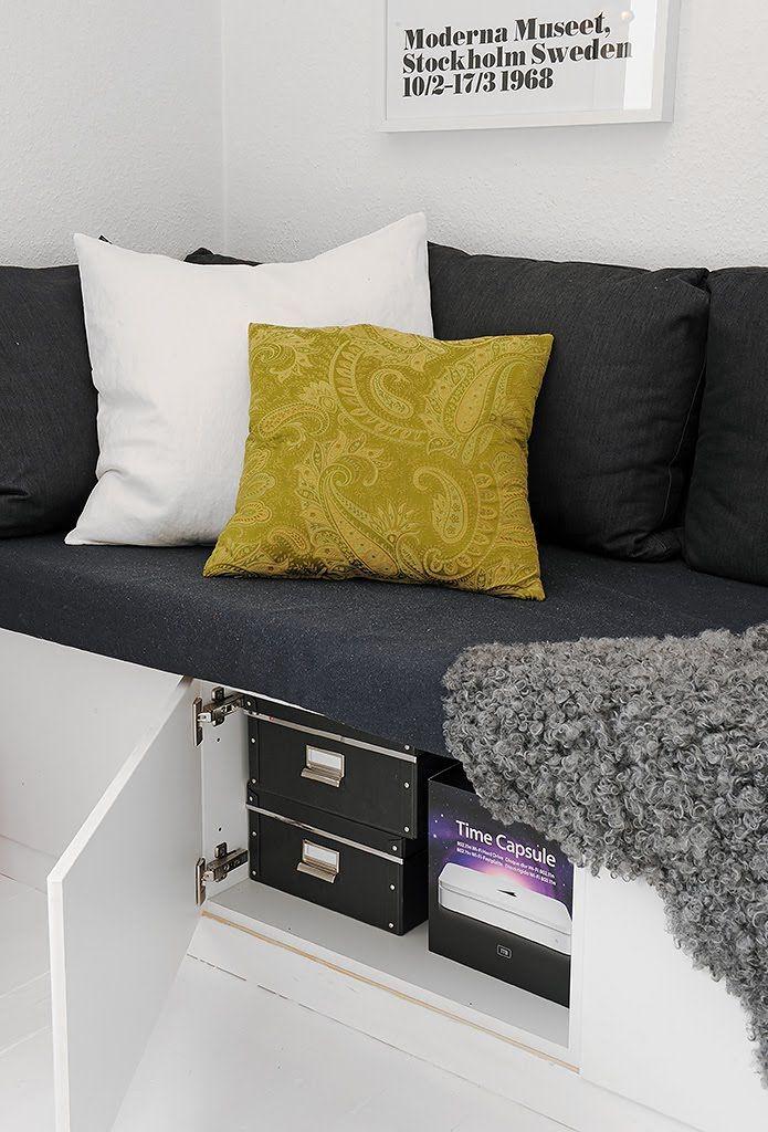 skåp istället för lådor under Platsbyggd soffa