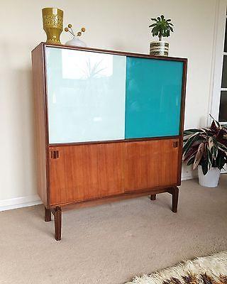 Vintage Teak 1960s Coloured Glass Cabinet Sideboard Retro Danish Mid Century