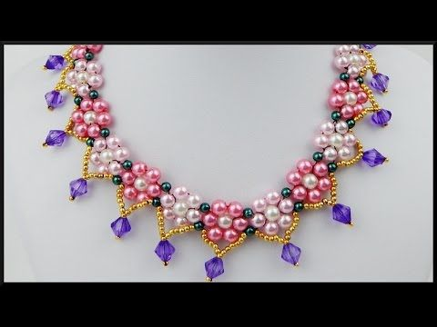 DIY | Blumen Perlen Halskette / Choker | Schmuck | Flower Pearl necklace with bicones | jewelry - YouTube