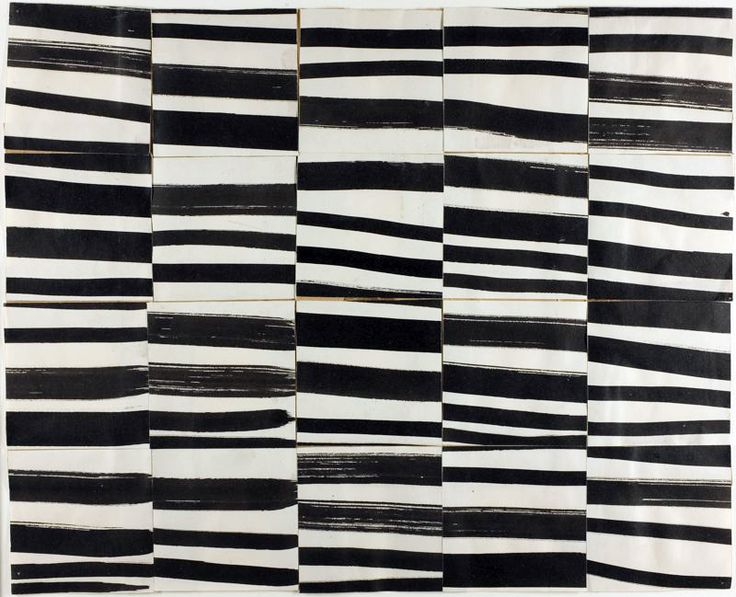"Ellsworth Kelly, Study for ""Cité"": Brushstrokes Cut into Twenty Squares and Arranged by Chance, 1951Ellsworth Kelly'S Study, Artists, Inspiration, Brushstroke Cut, Pattern, Cité, Twenty Squares, Black White, Painting"