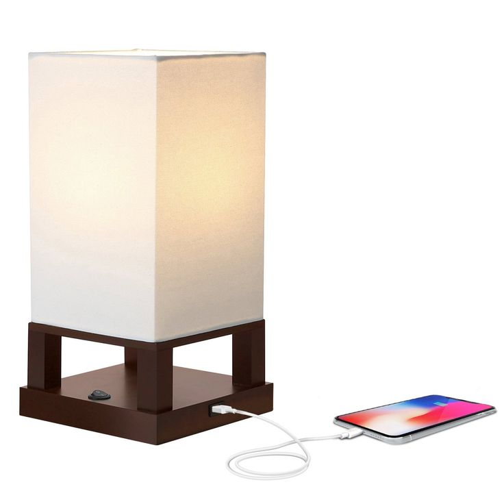 Maxwell LED Table & Desk Lamp W/ USB Port For Charging Devices - Asian Shelf Lamp Style - Includes 800 Lumen LED Light Bulb