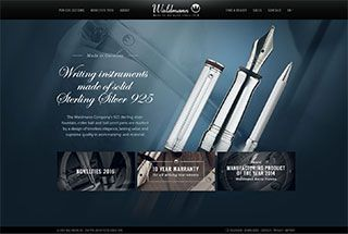 Great luxurious feel. Detailed images combined with script fonts convey precision and elegance. Clean organization of product specs and information.