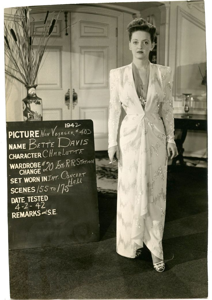 RARE Bette Davis Original Vintage 1942 Now Voyager Costume Test Photograph | eBay