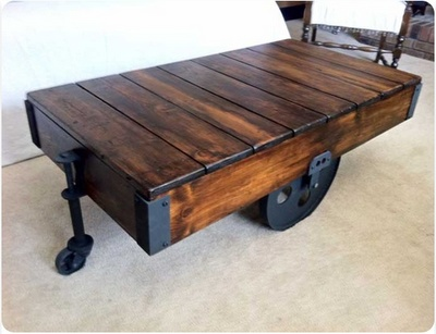 My father made me this exact same coffee table when I was in college. It's made of an antique railroad cart. Problem is, it is sitting in the shed, in Michigan! Love it and wish it was here!