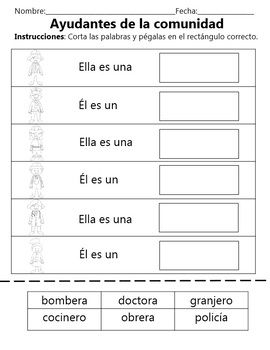 Community Helpers - Ayudantes de la Comunidad - Dual Language - English & Spanish This Social Studies Unit includes: - 2 Bilingual Centers - Puzzles - Memory Game - Venn Diagrams - Match the pictures with the words worksheets - Cut and Paste worksheets - ABC order worksheets - Flashcards - Vocabulary words for Word Walls or Content Boards