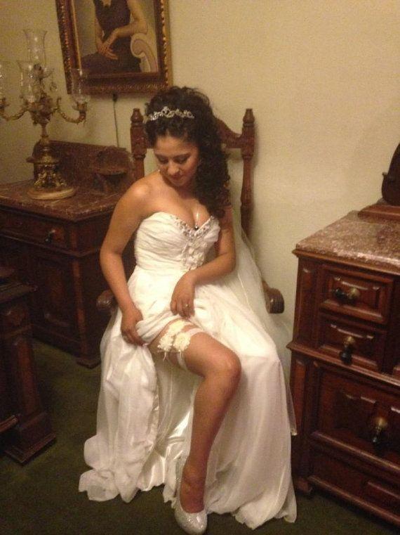 Ivory Wedding Garter  Bridal Garter Set  Ivory Lace by HopesBridal