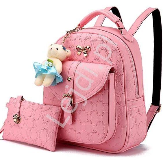 Schoolbag, Backpack in pink colour. 2 częściowy zestaw różowy plecak z ozdobnymi wytłoczeniami + saszetka www.lejdi.pl
