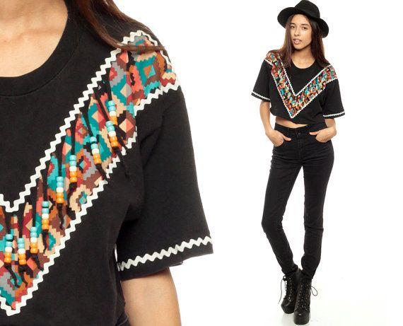 BEADED Fringe Shirt Boho Top Black 90s Aztec Crop by ShopExile