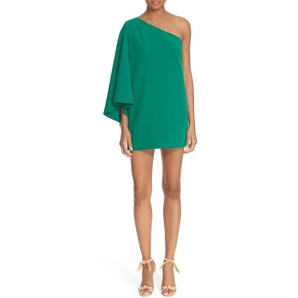 Women's Milly One-Shoulder Crepe Shift Dress ($375) ❤ liked on Polyvore featuring dresses, emerald, emerald green cocktail dress, short sleeve cocktail dresses, long-sleeve shift dresses, one sleeve cocktail dress and short cocktail dresses