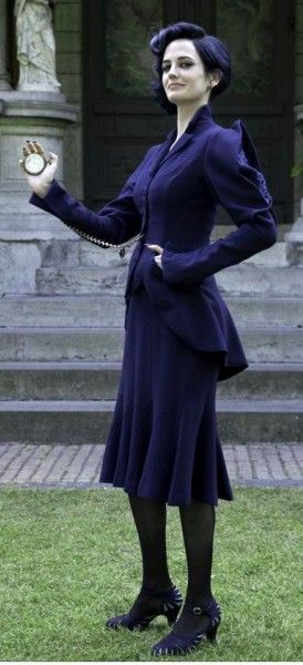 Miss Peregrines Blue bird-inspired suit from DIY Miss Peregrine Costume Ideas by the Costume Detective.