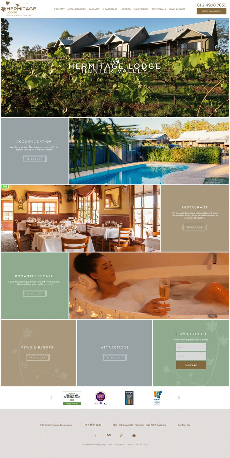 Hermitage Lodge is a multi award winning boutique hotel nestled on 10 hectares in the very heart of Hunter Valley wine country.  Have a look at their new custom designed website! http://www.hermitagelodge.com.au/  ‪#‎pebbledesign‬ ‪#‎hotelwebdesign‬ ‪#‎hotelwebsites‬ ‪#‎webdesign‬ ‪#‎websitedesign‬