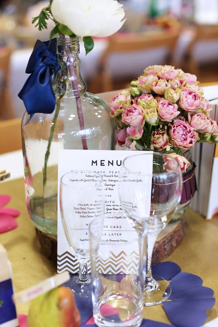 Chevron Menu Gold Stationery Colourful Home Made Spring Wedding http://www.jadelisaphotography.com/