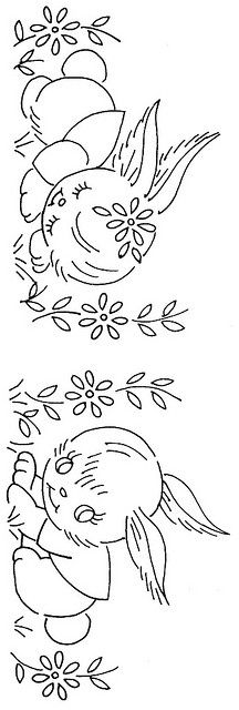 old fashioned bunnies embroidery pattern