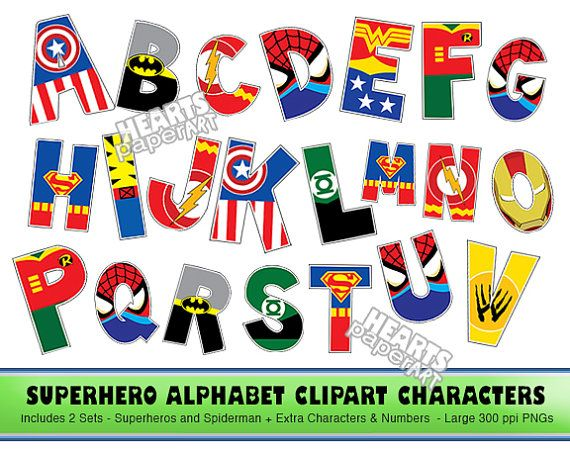 SUPERHERO Alphabet Clipart, PNG, Printable, Font, Alphabet, Lego The Movie Letters - Spiderman, Superman, Batman, Captian America, lots more