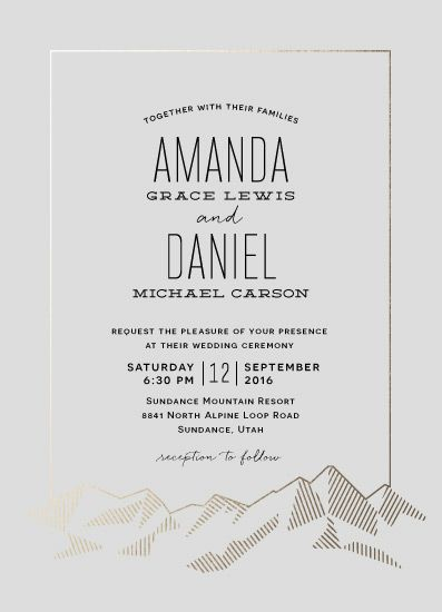 A Simple Mountain Inspired Wedding Invitation