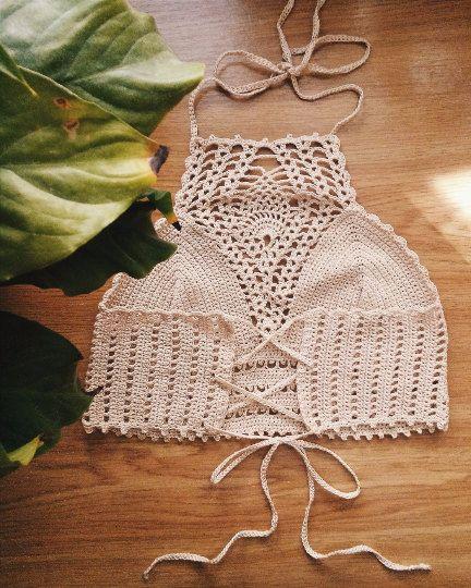 FREE SHIPPING Crochet top Crochet halter crop by HplusQknitwear
