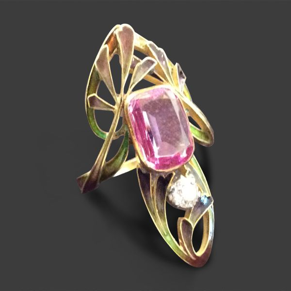 Jugendstilring Paul Liénard Paris um 1900 Gold Email Turmalin Diamant