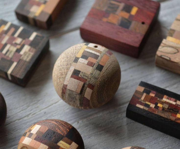 Yosegi pendants White: Oak, Maple, Tochi, and so on. Black: Ebony, Wenge, Ziricote, and so on. Brown: Walnut, Lace Wood, Rose Wood, and so on. Palebrown: Zelkova, Birch, Sakura, and so on. Red: Blood Wood, Bubinga. Purple: Purple Heart. Yellow:...