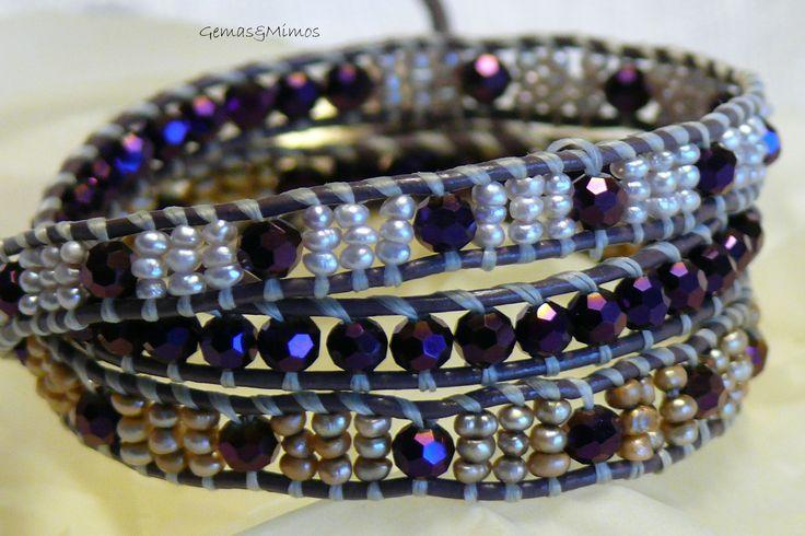 Pulsera de tres vueltas con perlas y cristal checo #jewelry #handmade #gemstones #joyeria #hechoamano #artesania #piedras #wraps #leather #cuero