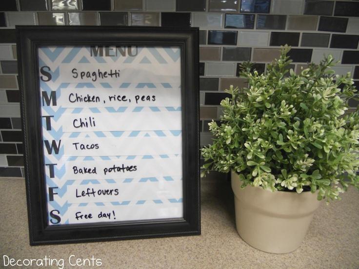 Decorating Cents: Dry Erase Menu Board