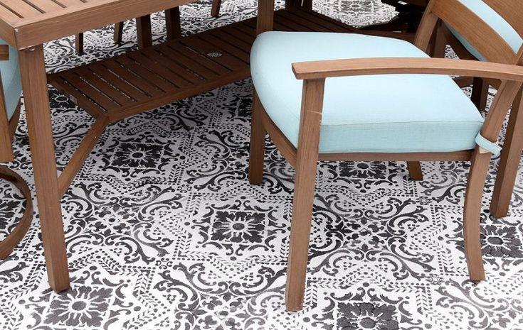DIY Stenciled Concrete Rug | Stencil concrete, Painted rug ...
