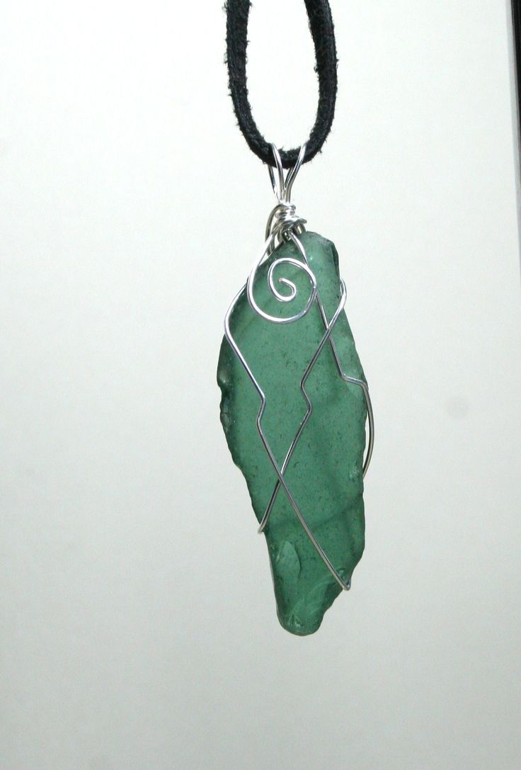 Green sea glass wired necklace from Coral Beach, Connemara, Ireland  www.facebook.com/Supposejewellery