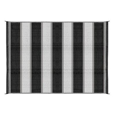 Camco 42873 Reversible Outdoor Mat (6' x 9', Charcoal Stripe) - Charcoal Stripe