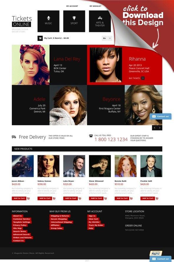 Tickets Website Responsive Magento Theme E-commerce Templates, Magento Themes, Entertainment, Games & Nightlife, Entertainment Templates, Tickets Website Templates