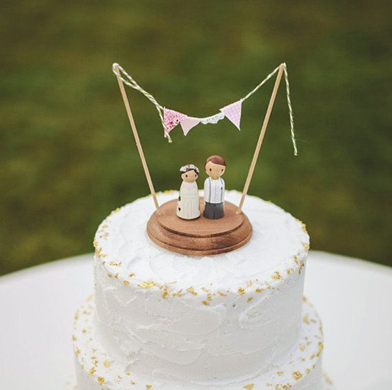 Rustic Wedding Cake Topper   wedding cake topper  bride and