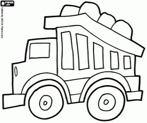 Omalovánka Kamion naložený s kameny