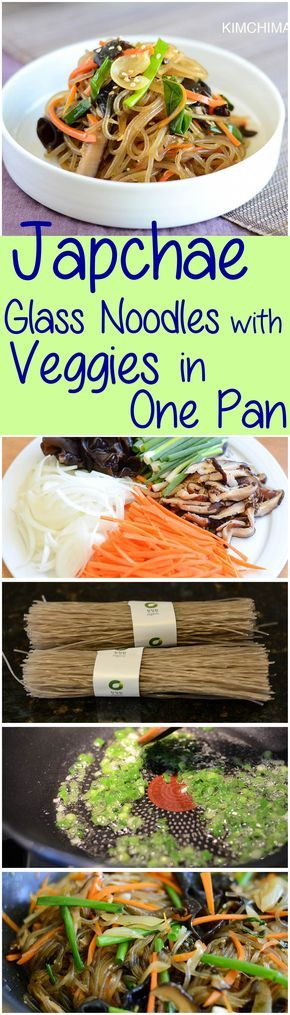 One-Pan Korean Japchae simply made with Glass Noodles, mushrooms and veggies. Delicious and healthy; it is a meal on its own. | Kimchimari.com