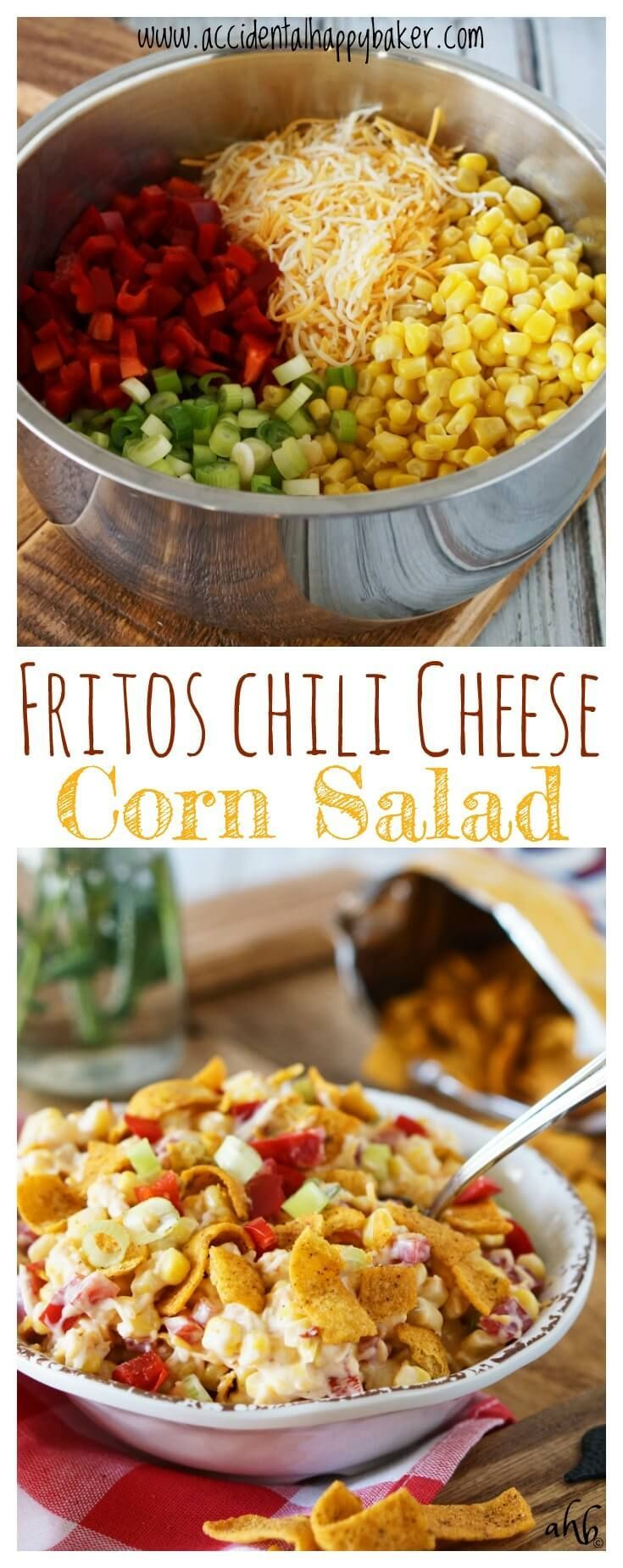 Crisp veggies, crunchy Fritos corn chips, cheddar cheese and a zippy creamy dressing. This Frito chili cheese corn salad couldn't be easier, or more delicious!