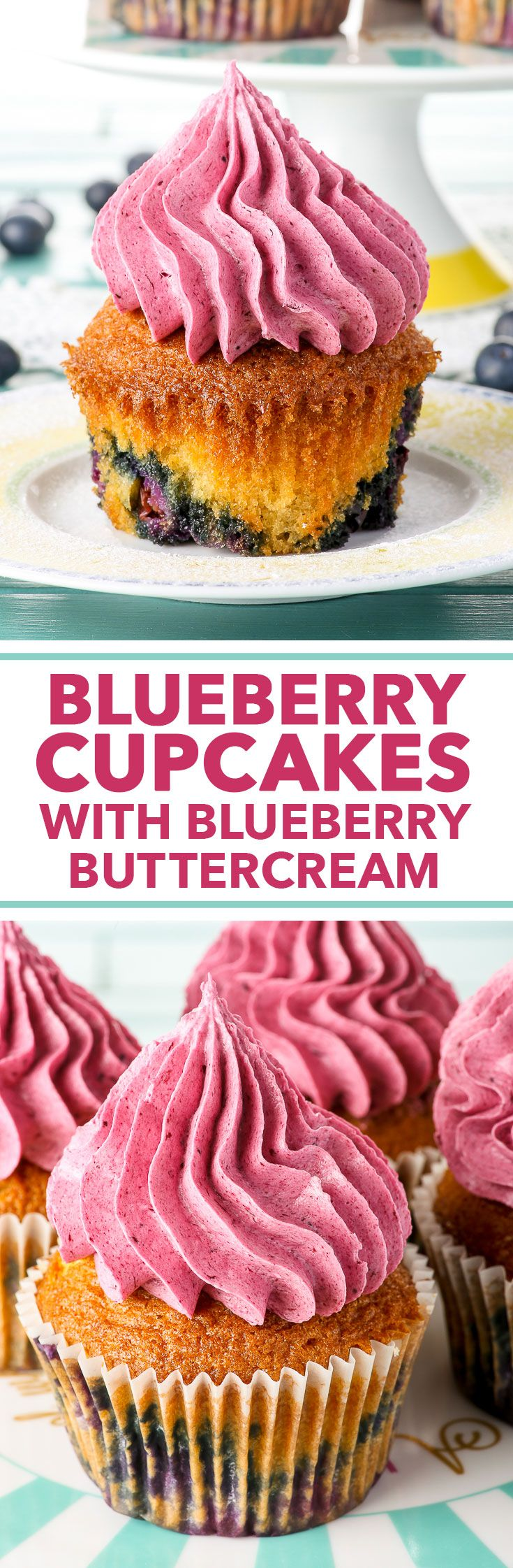 Blueberry Cupcakes with Blueberry Buttercream {soy & nut free, gluten free option} - These amazing blueberry cupcakes with blueberry buttercream are guaranteed to impress. The recipe is quick and easy, but the results are mind-blowing! All you need is half an hour and minimal piping skills. The cupcakes have the perfect ratio of creamy buttercream to fluffy cupcake, and the blueberry flavour comes through in every bite. Gluten free option, as well!