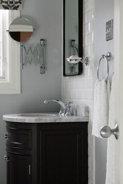 Simple White, Grey, And Black In This Small Bathroom By Anna Duval Designs