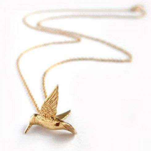 Classic hummingbird gold vermeil necklace