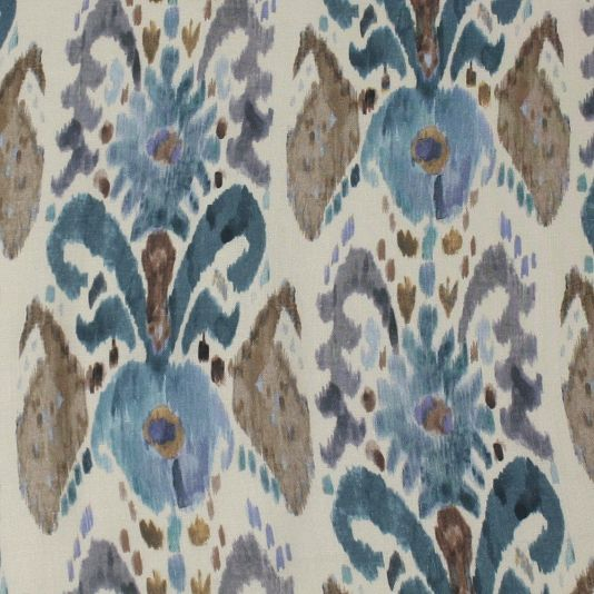 Pandora Ikat Fabric - A striking linen fabric with a beautiful ikat design in blue and brown.