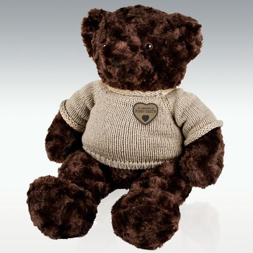 Extra Large Teddy Bear Cremation Urn - Dark Brown - Personalize
