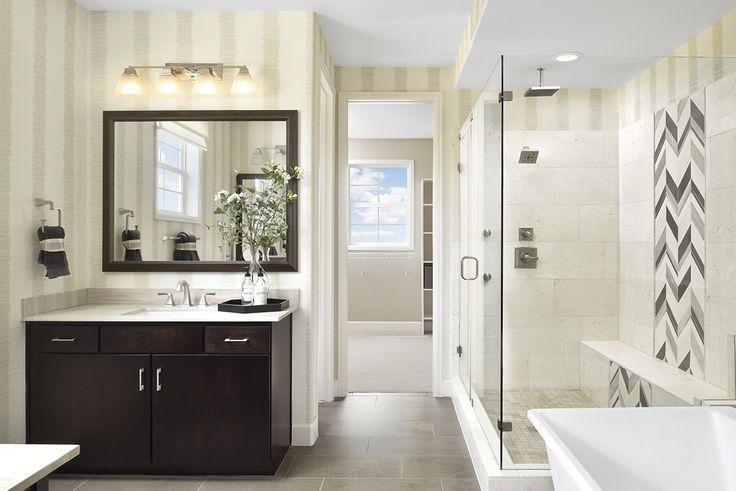 Stunning chevron tile in the shower! | Daley model home master bath | Aurora, CO | Richmond American Homes