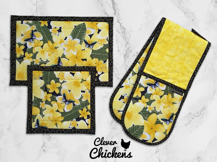 Kitchen Set - Double Oven Glove / Oven Mitt and Hot Pads -  Frangipani Flower Butterfly - Housewarming Gift Birthday - Tropical Black Yellow by CleverChickens on Etsy