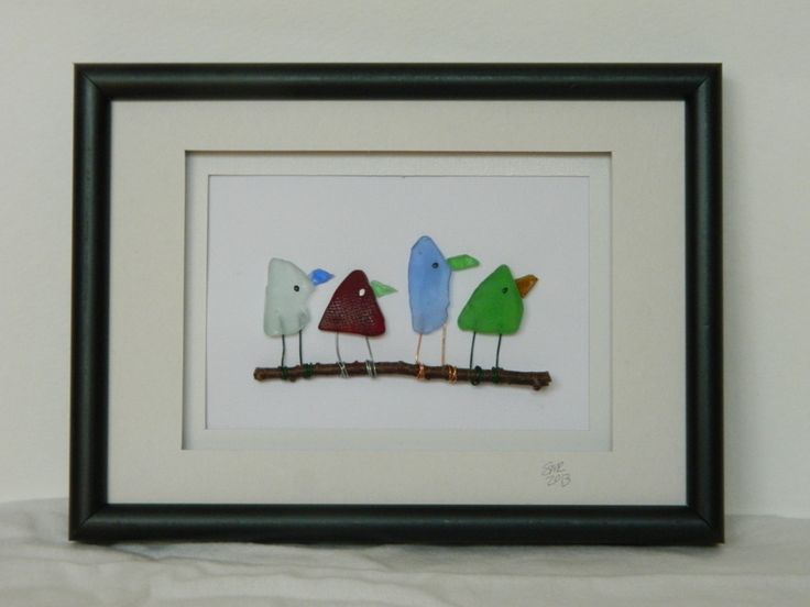 Four Birds Colored Sea Glass 5 x 7 by RockyCoastDesigns on Etsy