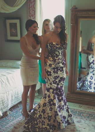 7 Floral Print Wedding Dresses We're Obsessed With