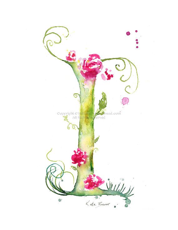 Letter I - Watercolor Monogram - Flower Lettering ...