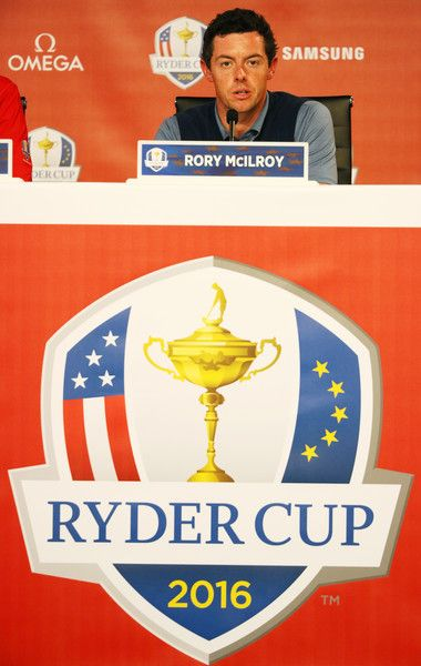 Rory McIlroy of Europe speaks ot the media after afternoon fourball matches of the 2016 Ryder Cup at Hazeltine National Golf Club on September 30, 2016 in Chaska, Minnesota.